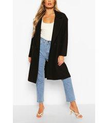 double breasted pocket detail wool look coat, black