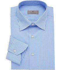 canali women's modern-fit striped dress shirt - blue - size 40 (15.75)