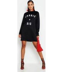 carrie + big slogan sweat dress, black