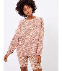 loft petite lou & grey leopard print oversized terry sweatshirt