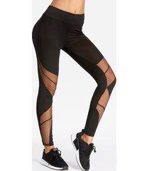 leggings de cintura alta con costura de hilo de red de secado rápido activo en negro