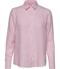 kirsten linen stripe shirt overhemd met lange mouwen roze morris lady