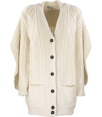 red valentino wool blend maxi cardigan with ruffle detail