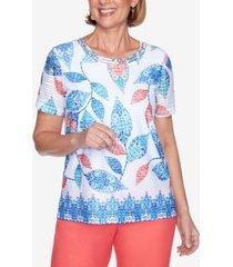 alfred dunner short sleeve batik leaves print knit top with embellished neckline and border trim