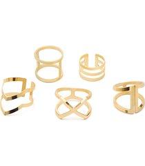conjunto de anillos de oro con detalle hueco