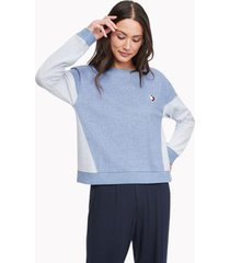 tommy hilfiger women's heart lounge pullover chambray - xs