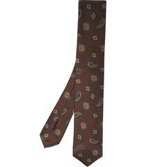 barba paisley pattern tie - brown