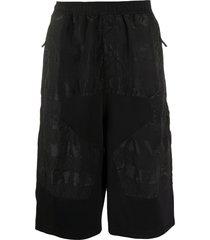 stone island shadow project long panelled bermuda shorts - black