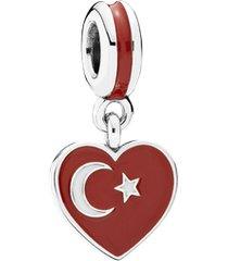 charm de prata pendente coração turco
