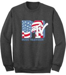 men's mtv american flag crew fleece sweatshirt