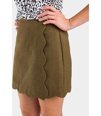 joney scallop mini skirt - olive