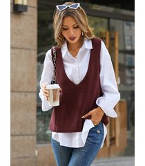 chaleco suéter sin mangas de punto con cuello en v