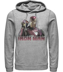 marvel men's avengers endgame i am iron man gauntlet, pullover hoodie