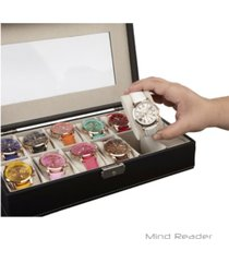 mind reader watch box organizer case, fits 12 watches, mens jewelry display drawer storage, pu leather