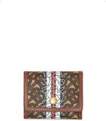 burberry small monogram stripe folding wallet - brown