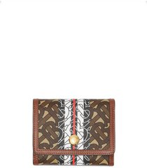 burberry small monogram stripe folding wallet - brown