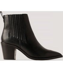 na-kd shoes ankelboots i läder - black