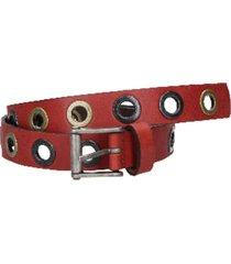 cinturón de cuero con ojetillos rojo zappa