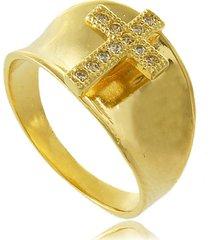 anel liso cruz com zircônias cravejadas 3rs semijoias dourado
