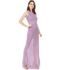 vestido longo pink tricot renda rodado feminino