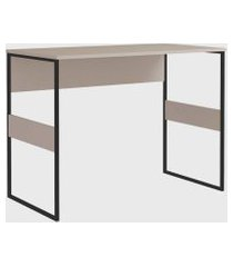 mesa office madrid 100cm metallic suede zaile emobilia bege