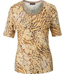 shirt korte mouwen en allover-print van basler beige