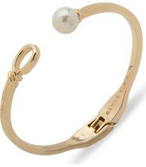 anne klein gold-tone imitation pearl open hinge bracelet