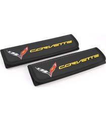 corvette c7 seat belt covers leather shoulder pads accessories with emblem