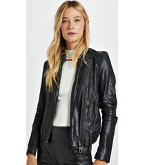 jaqueta de couro com textura mini serpente preto