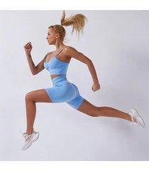 strój mix fitness kolor niebieski spodenki i top