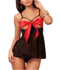 icollection women's i'm yours open cup 2 piece babydoll with peek a boo bow and panty set