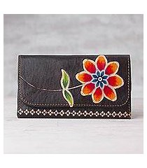 leather wallet, 'flower of the earth' (peru)