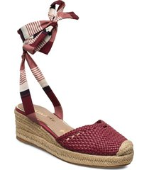 woms sling back sandalette med klack espadrilles röd tamaris