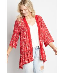 maurices womens red floral crochet trim kimono