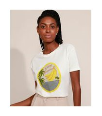 "t-shirt feminina mindset going bananas"" manga curta decote redondo off white"""