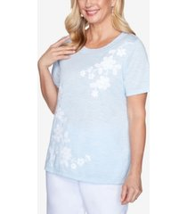 alfred dunner asymmetric floral short sleeve knit top with novelty neckline