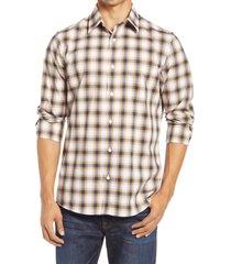 men's nordstrom tech-smart trim fit plaid button-up shirt, size x-large - brown