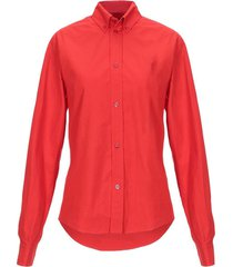 fitted crinkled shirt, red