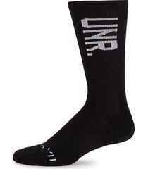 unravel project men's mid-high logo socks - black white - size l-xl