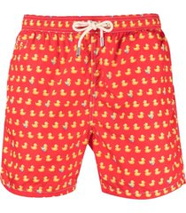 mc2 saint barth lighting micro duck-print swim shorts - red