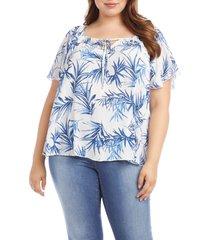 plus size women's karen kane palm leaf print tie neck flutter sleeve top, size 1x - blue