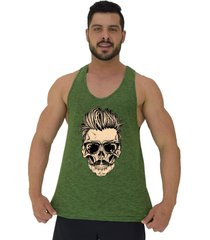 regata cavada masculina alto conceito caveira skull bigode cabelo arrepiado verde flame - verde - masculino - algodã£o - dafiti