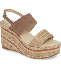 women's toni pons peru platform wedge sandal, size 9-9.5us - beige