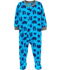 carter's baby boy 1-piece woodland fleece footie pjs