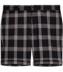 mens navy and burgundy check stretch skinny shorts