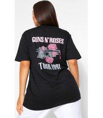 plus gelicenseerd guns and roses t-shirt met rugopdruk, black