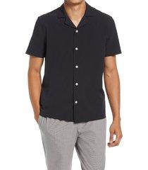 men's open edit short sleeve button-up swim shirt, size large - black