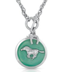 2028 silver-tone enamel horse pendant toggle necklace