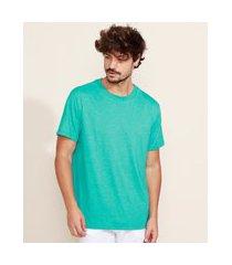 camiseta masculina básica manga curta gola careca verde