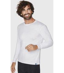camiseta manga larga algodón blanca mota